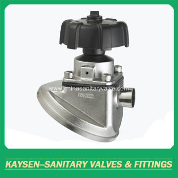Sanitary diaphragm valve weld end manual type